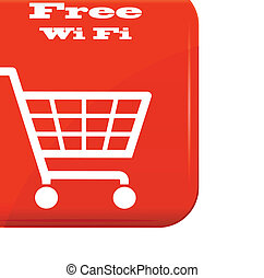 Shopping basket with Wi-Fi sign on red button