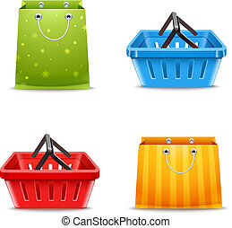 Shopping baskets and paper gift bags decorative set isolated vector illustration
