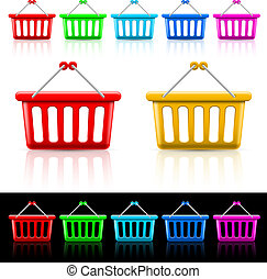 Shopping baskets - Icons with shopping baskets. Illustration...