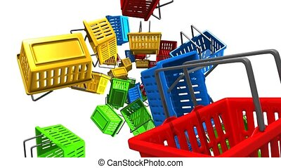 Shopping baskets on white background. Loop able 3D render...