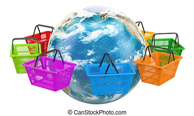 Shopping baskets rotation around Earth globe. Worldwide online shopping concept. 3D rendering