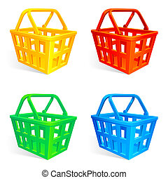 Shopping baskets. - Set of 4 empty shopping baskets.