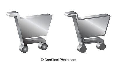 shopping baskets sign, 3d
