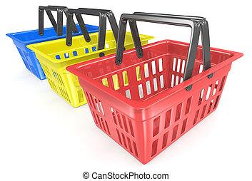 Shopping baskets.