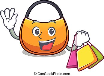 Shopping beautifully hobo bag on character funny vector...
