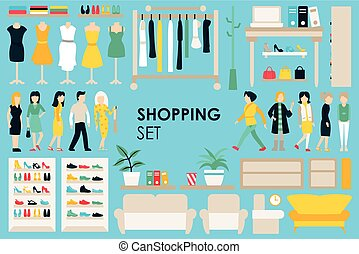 Shopping Big Collection in flat design background concept