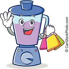 Shopping blender character cartoon style