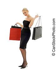 shopping blond in black dress #2
