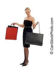 shopping blond in black dress