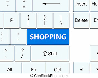 Shopping blue keyboard button
