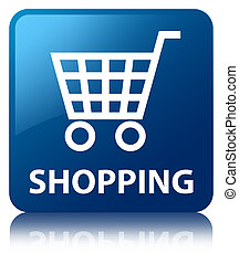 Shopping blue square button