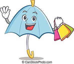 Shopping blue umbrella character cartoon