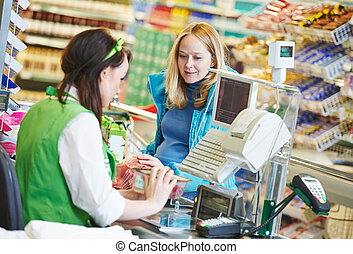 shopping., bolt, ellenőriz, élelmiszer áruház, ki