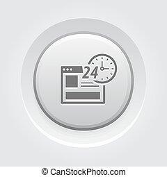 shopping, bottone, grigio, disegno, linea, icon.