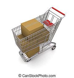 shopping, boxes., carrello, interpretazione, fondo, bianco, 3d