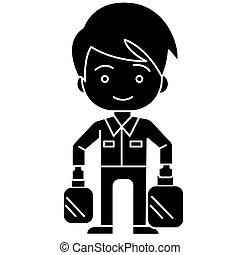 shopping boy with bags icon, vector illustration, black sign on isolated background
