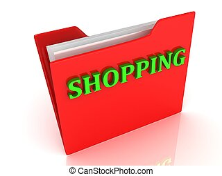 SHOPPING bright green letters on a red folder