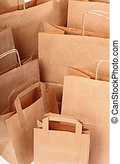 Shopping brown gift bags background