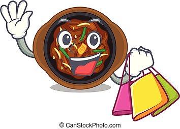 Shopping bulgogi in a the bowl cartoon