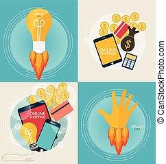 shopping., business, concept., infographics, e-commerce., fond, ligne