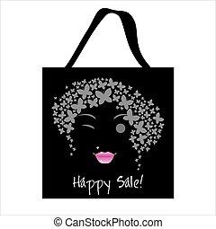Shopping butterfly woman bag design