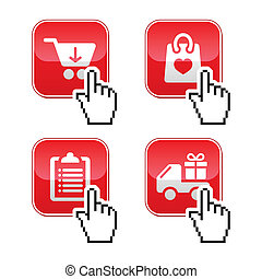 Shopping buttons set with cursor - Red buttons - buy online...