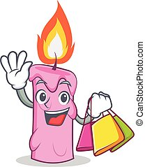 Shopping candle character cartoon style vector illustration