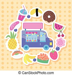 shopping car with set icons kawaii style