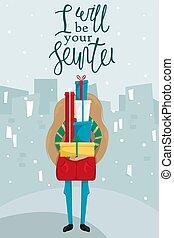 shopping., card., lei, augurio, regali, vettore, mucchio, allegro, anno, nuovo, ragazza, natale, hands., felice