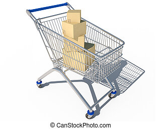 shopping cart 3d cg