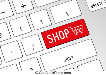 Shopping cart - 3D computer keyboard