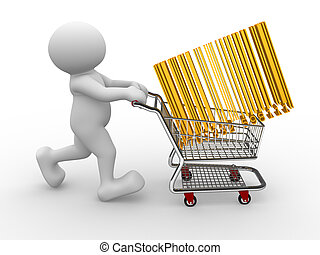 Shopping cart - 3d people - human character, person with...