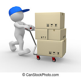 3d people - human character, person with shopping cart ( hand trucks ) and cargo boxes. 3d render