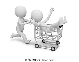 Shopping cart - A 3d human character/ shopping cart/shop