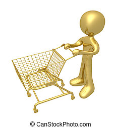 Shopping Cart - A 3d person with a shopping cart.