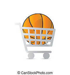 shopping cart and basketball illustration design