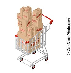 Shopping cart and box sale isometric. Shopping at supermarket. Many boxes. Large number of purchases. Discounts on goods. Sales in store