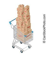 Shopping cart and box sale. Shopping at supermarket. Many boxes. Large number of purchases. Discounts on goods. Sales in store