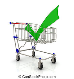 Shopping cart and check mark, isolated on white background
