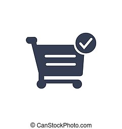 Shopping cart and checkmark Icon. Vector illustration for web site, mobile application.