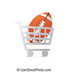 shopping cart and football illustration design