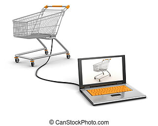 Shopping Cart and Laptop. Image with clipping path