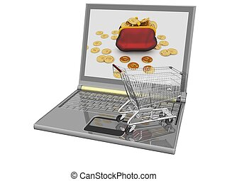 Shopping-cart and laptop isolated. Conception of purchase of...