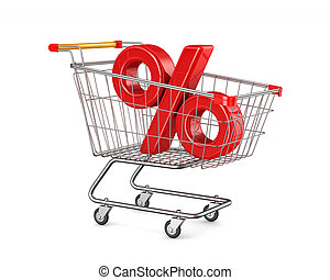 shopping cart and percent on white background. Isolated 3D...