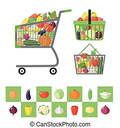 Shopping cart and shopping baskets with vegetables