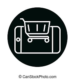 shopping cart and smartphone block and line style icon vector design