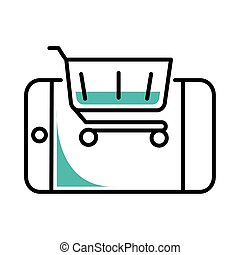 shopping cart and smartphone line style icon vector design