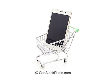 Shopping cart and smartphone with blank screen, isolated on white background