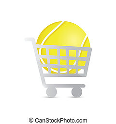 shopping cart and tennis ball illustration design