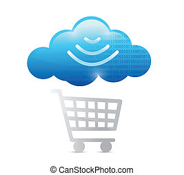 shopping cart and wifi cloud illustration design over a...